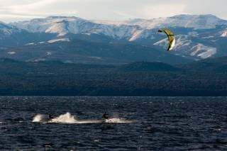 Kitesurfing on Nahuel Huapi