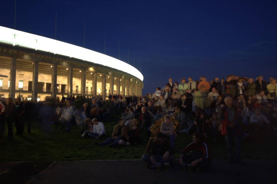 Crowd near the old Olympia Stadium in Berlin