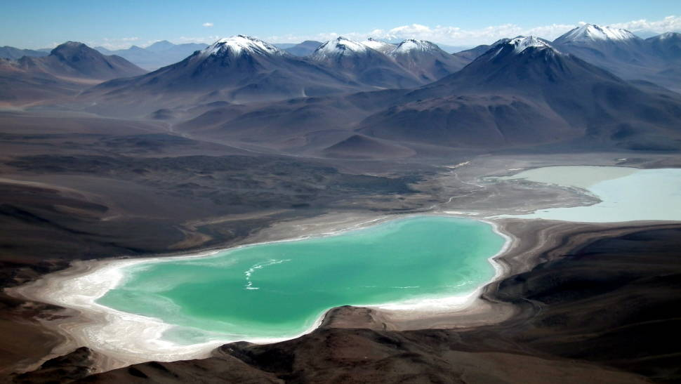 Laguna Verde and Laguna Blanca as seen from the summit of the Licancabur Volcano