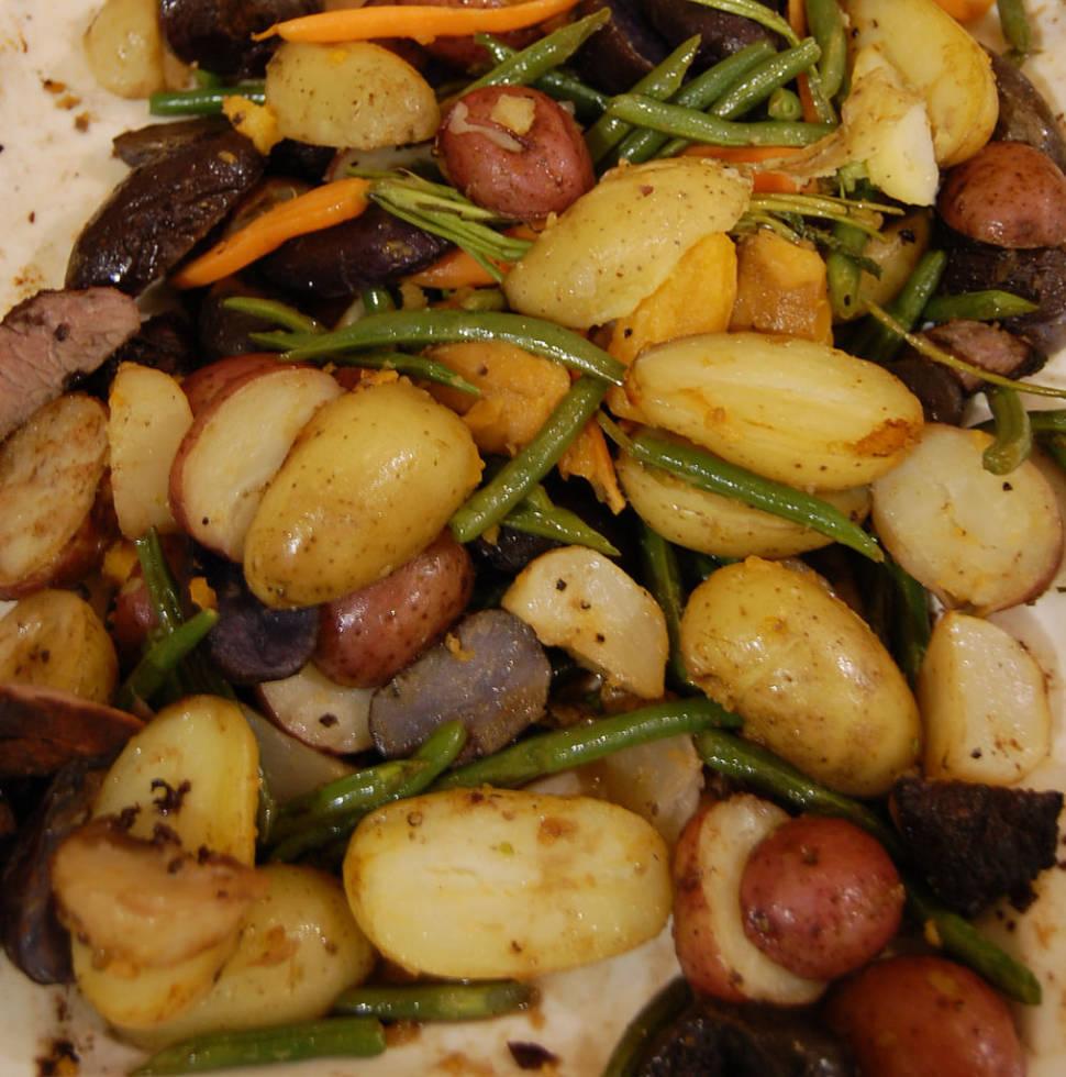 Root vegetables with elk steak