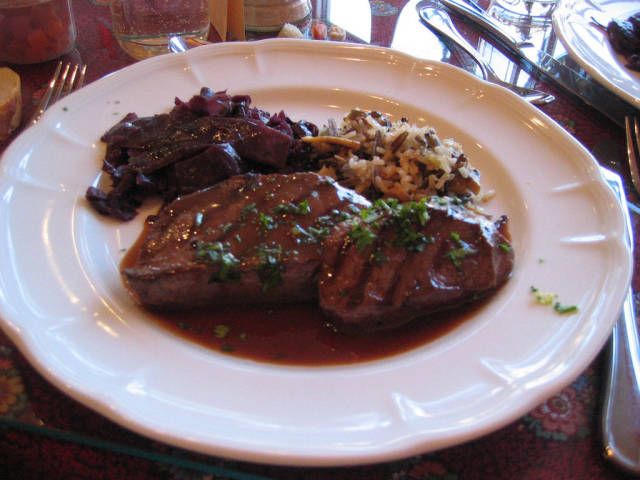 Venison with wild rice and rotkohl