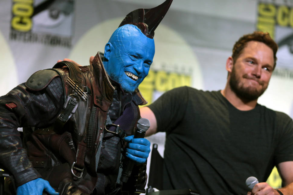 """Michael Rooker and Chris Pratt speaking at the 2016 San Diego Comic Con International, for """"Guardians of the Galaxy Vol. 2"""""""