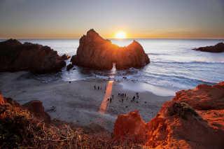 Sunset at Keyhole Arch, Pfeiffer Beach