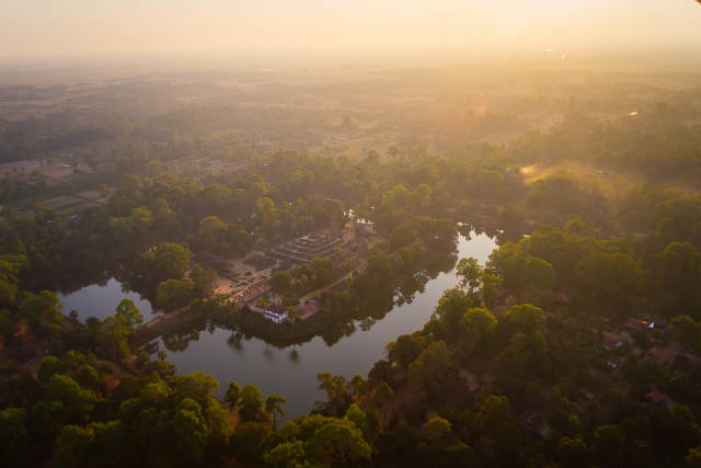 Best time for A Helicopter Flight above Angkor Wat in Cambodia