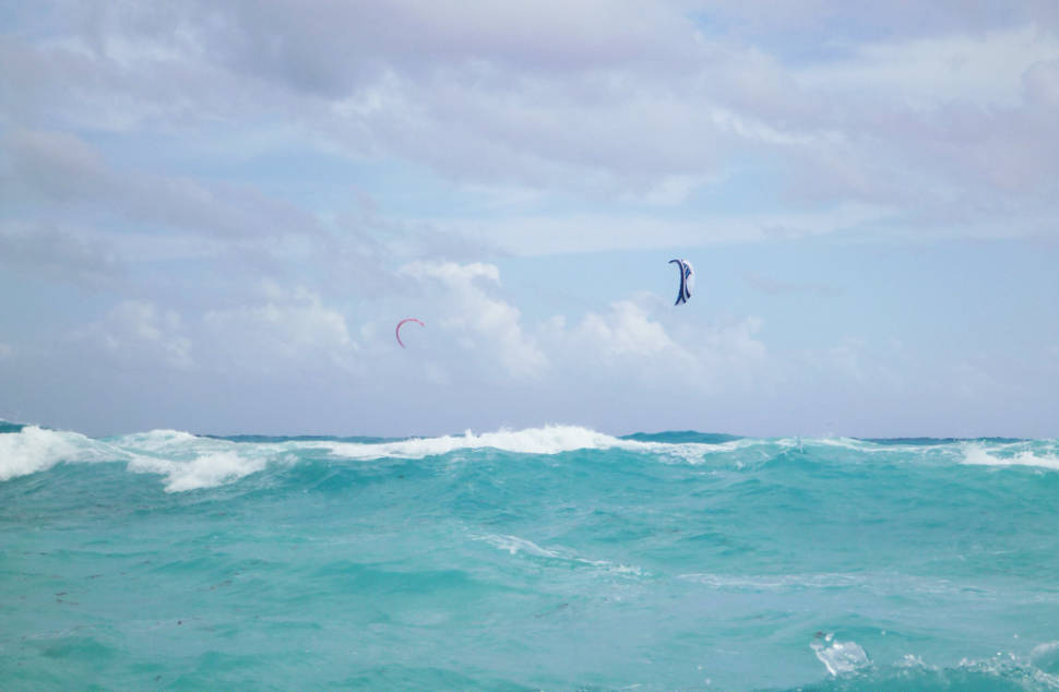 Kitesurfing at Playa Delfines