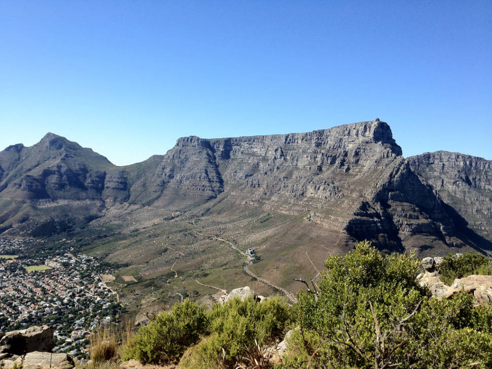 View of Table Mountain from the contour paths around Lion's Head