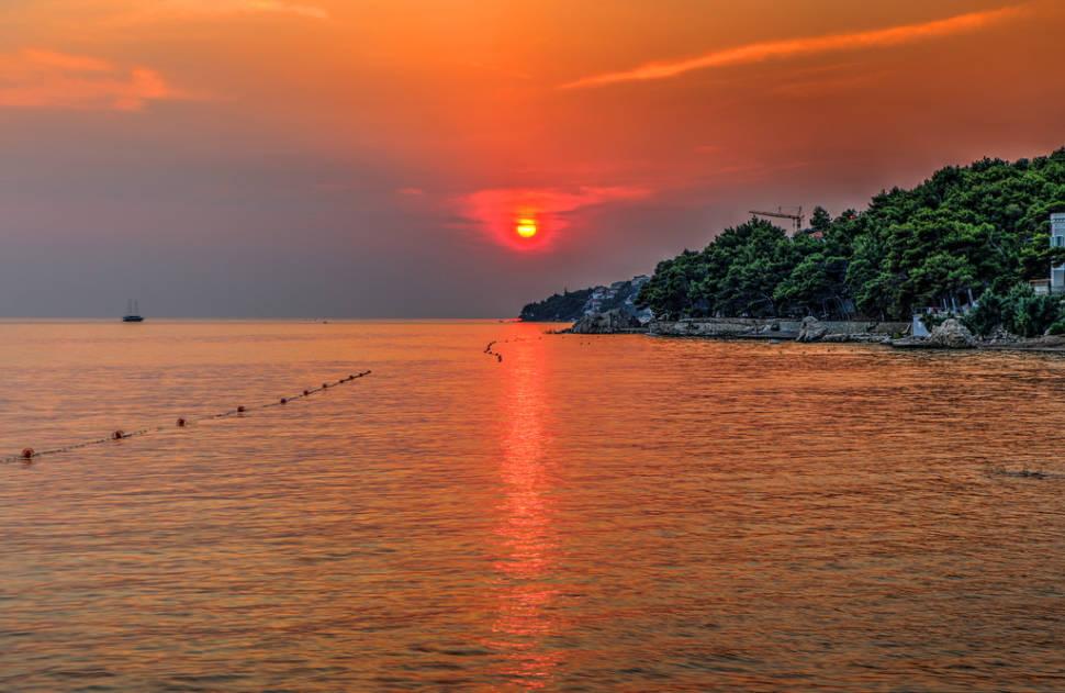 Ship in the sunset in Čelina, Splitsko-Dalmatinska županija, Croatia