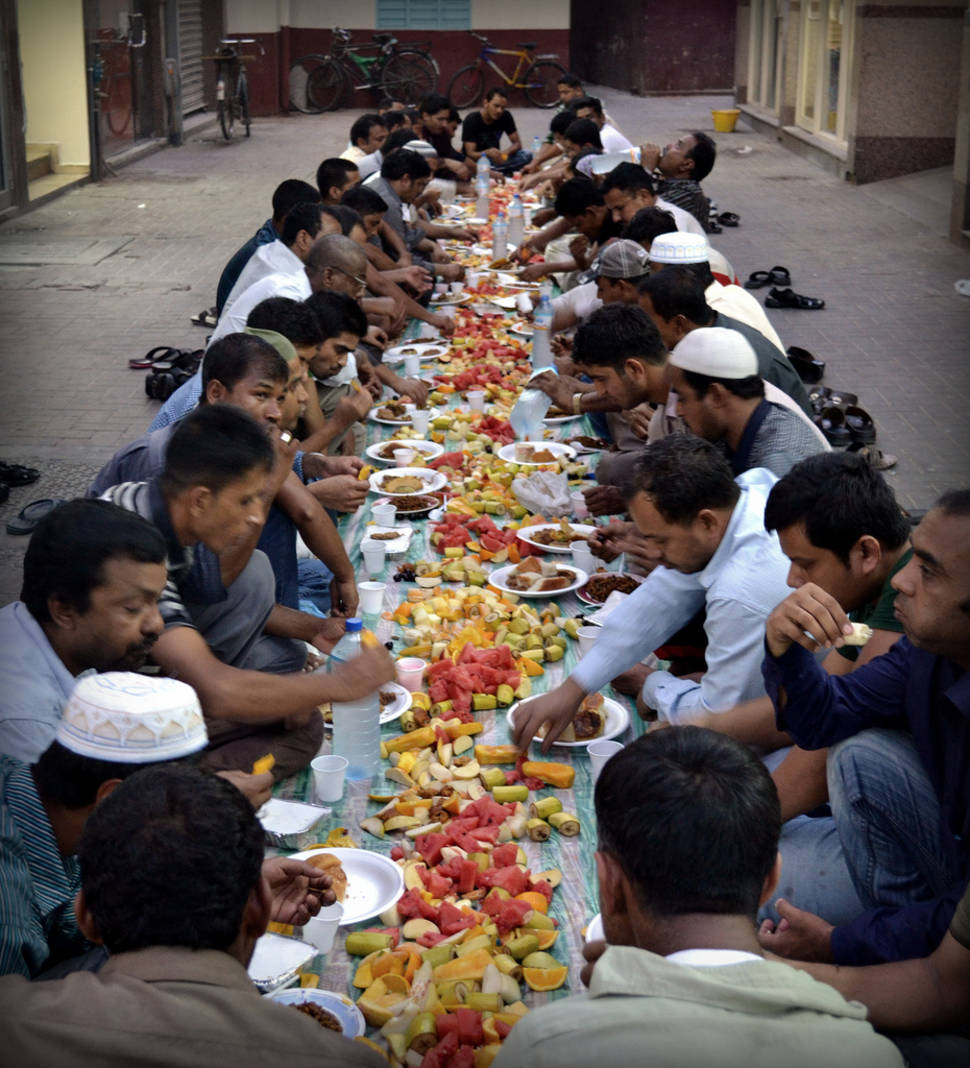 When the night comes people stop to fasting, sitting on street and eat a meal together