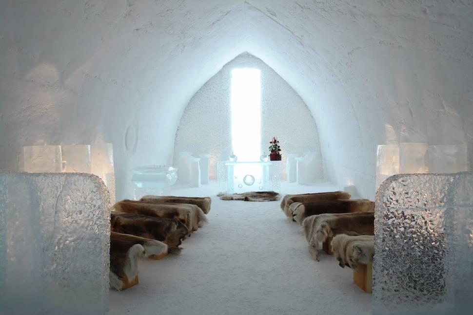 Church in Snow Village in Lainio