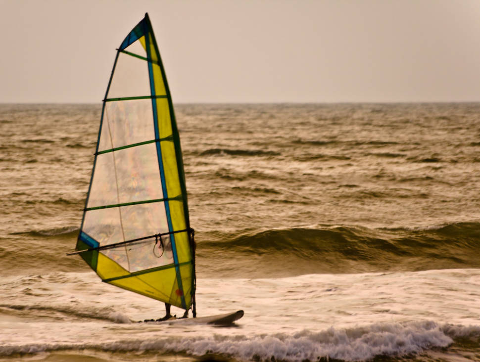 Windsurfing on Baga Beach in the evening