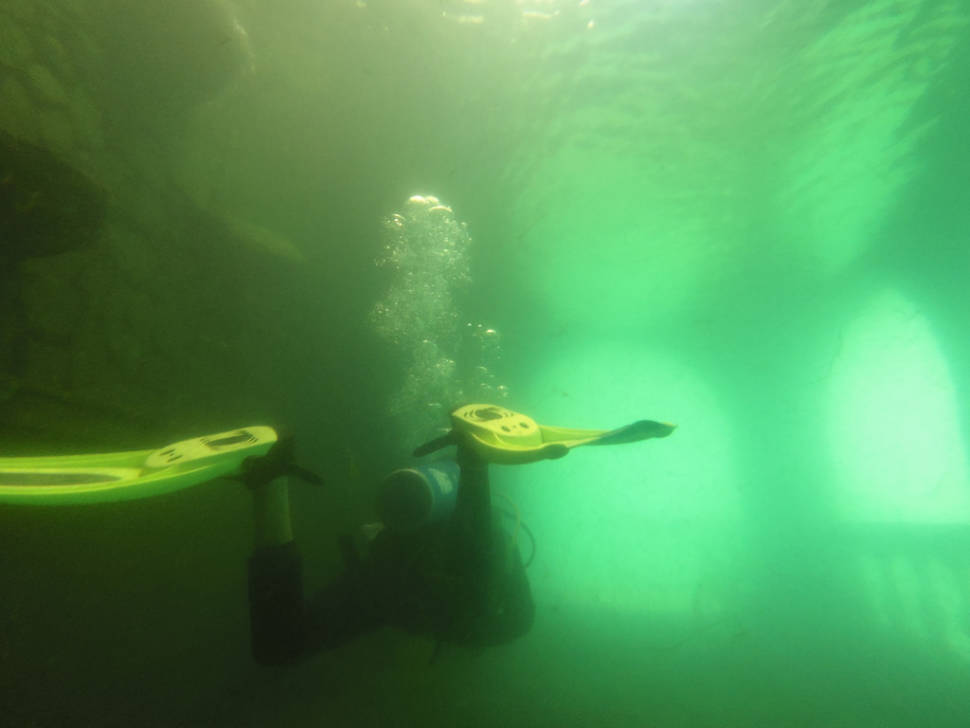 Inside part of the submerged hotel in the Lake Atitlán
