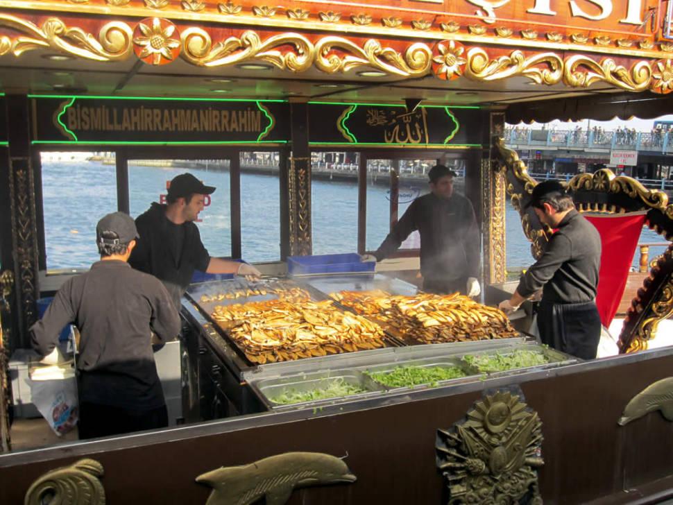 Fish sandwich sellers near the Galata Bridge, Istanbul