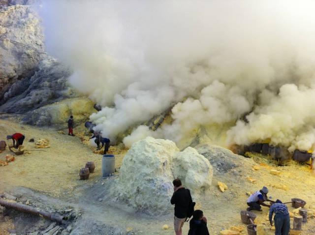 Sulfur miners at Kawah Ijen Crater