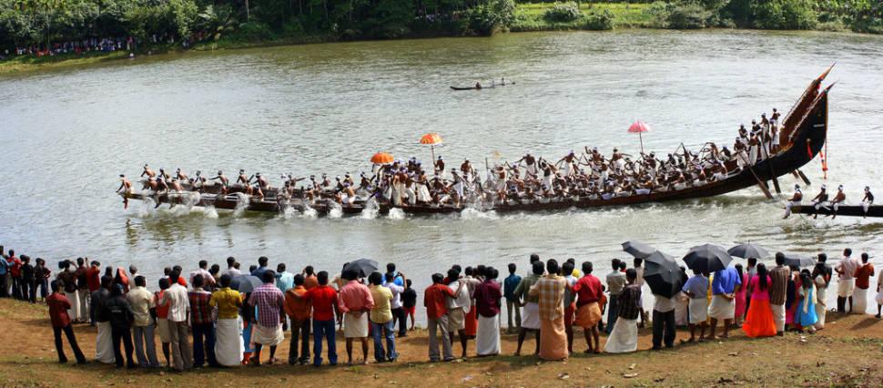 Panorama at the Vallam Kali (snake boat festival) held at Ayroor in Kerala
