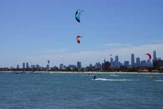 Kitesurfing at St Kilda Beach