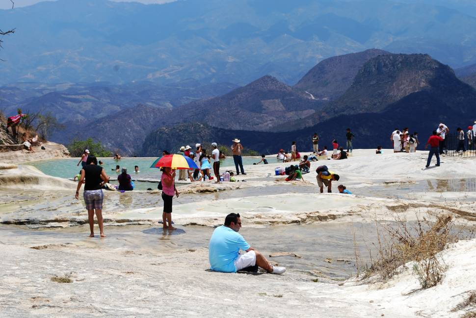 Lower natural and artificial pools at Hierve el Agua, Oaxaca, Mexico