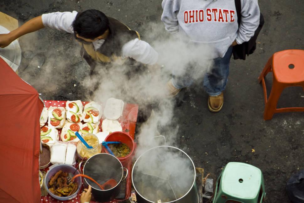 Street food spot on the corner of Puebla and Jalapa streets