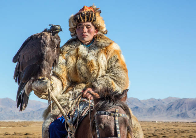 Traditional Kazakh eagle trainer