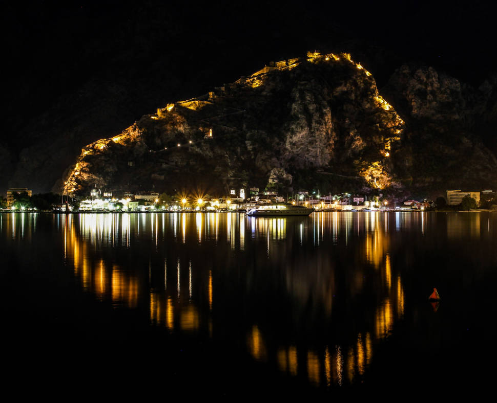 Fortifications of Kotor during the Boka night