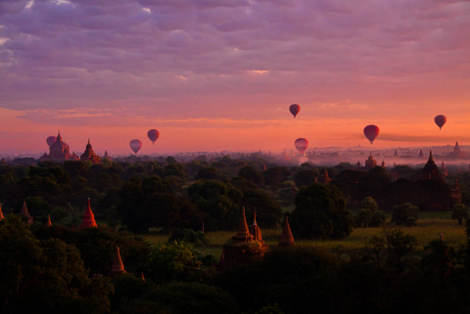 Best time to see Air Ballooning over Bagan in Myanmar