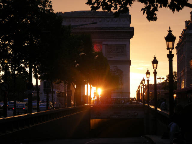 Best time for Sunset in the Arc de Triomphe in Paris