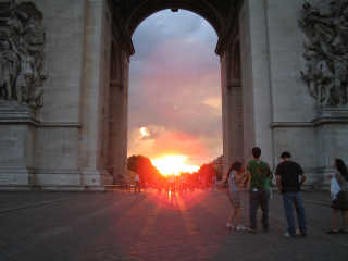 Sunset in the Arc de Triomphe