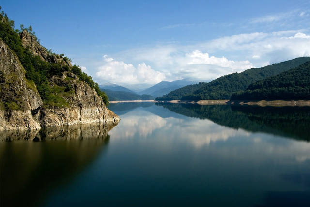 Vidraru lake and the Fagaras Mountains