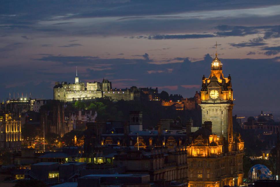 Edinburgh Castle illuminated