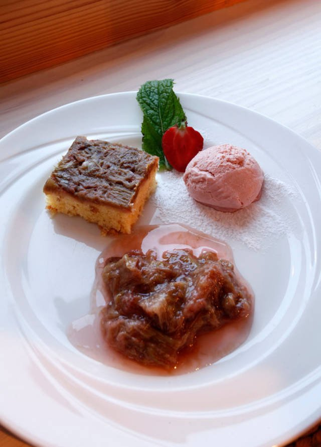 Rhubarb Three Ways : Rhubarb Upside Down Pudding, Rhubarb and Ginger Ice Cream and Rhubarb Compote