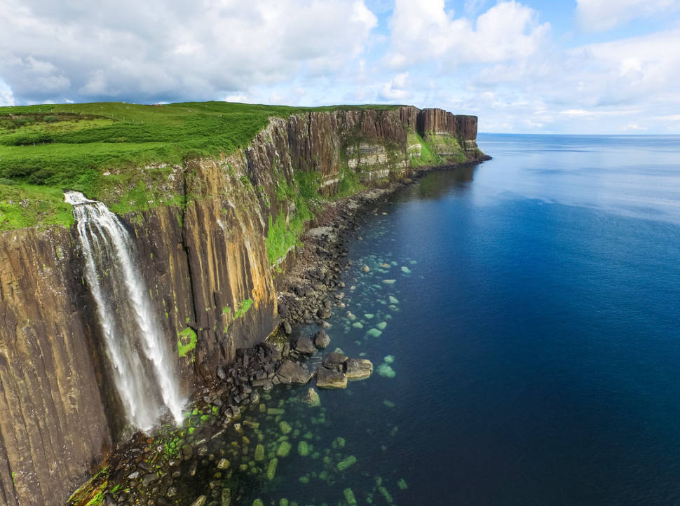 Mealt Falls and Kilt Rock on the Isle of Skye
