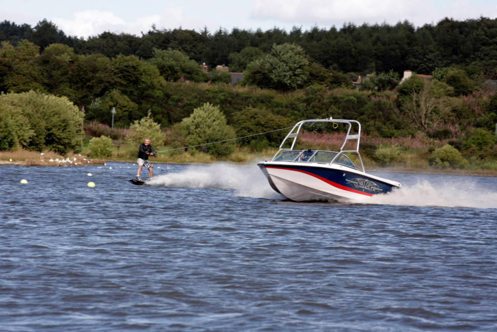 Wakeboarding at the Scottish National Water Ski Centre, at the Townhill Country Park