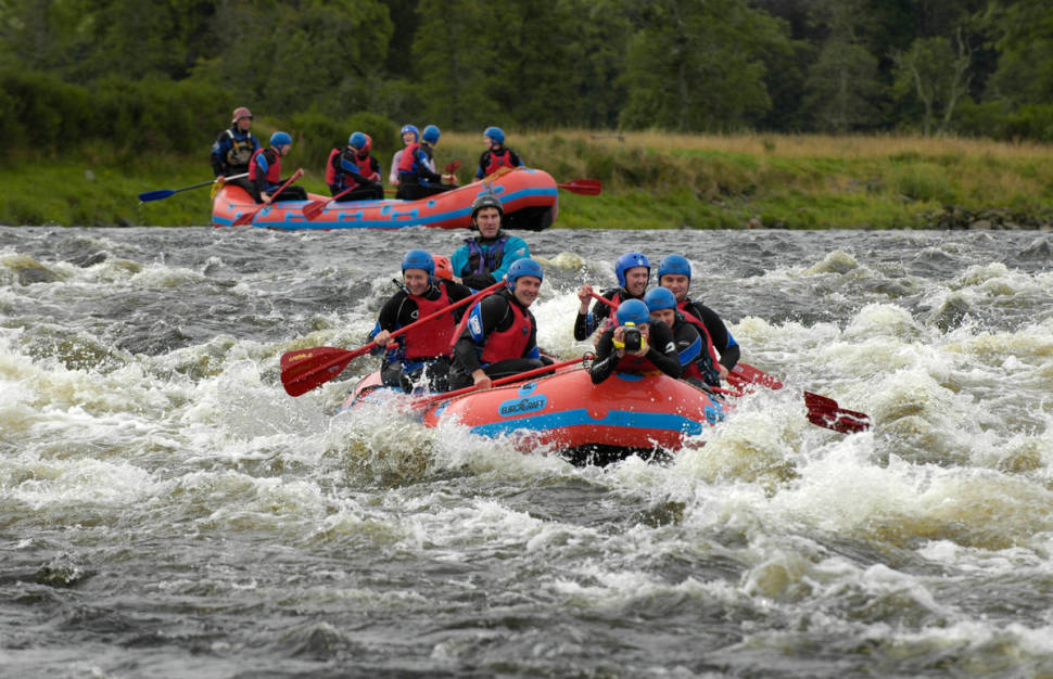 Rafting on the River Spey with full on adventure