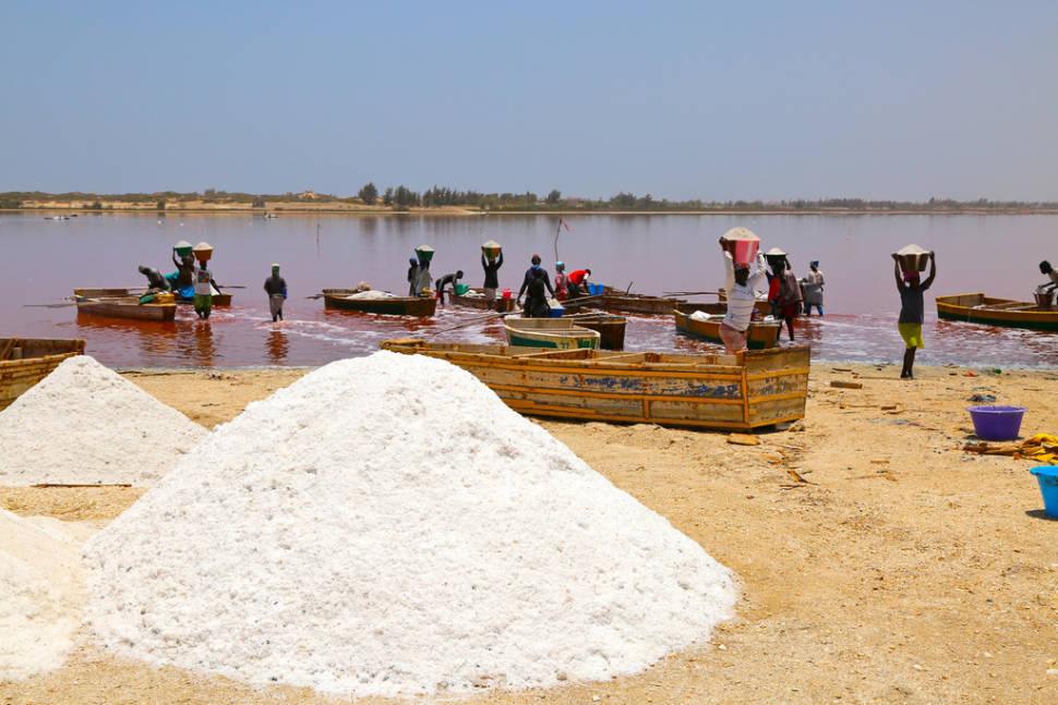 Salt harvesting at Lake Retba