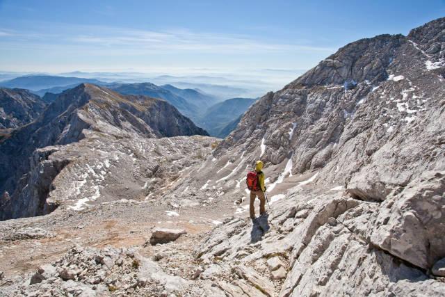Hiker on Kamnik- Savinja Alps
