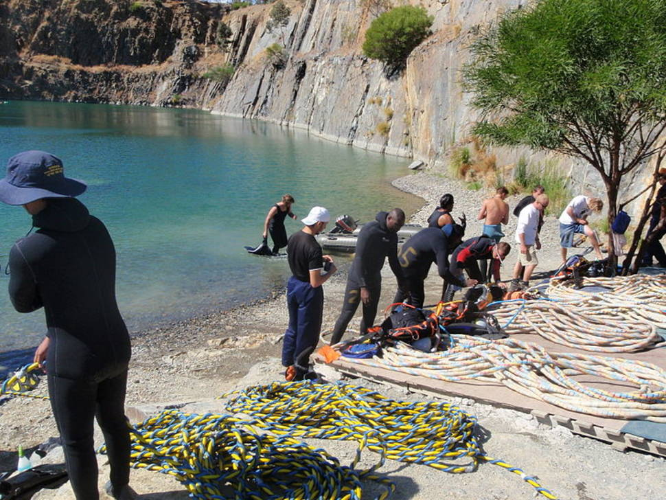 Commercial diver training at Blue Rock Quarry, Gordon's Bay