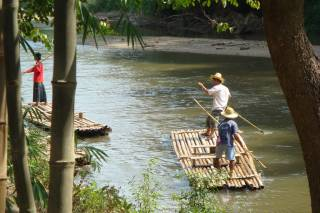 Bamboo Rafting During Dry Season
