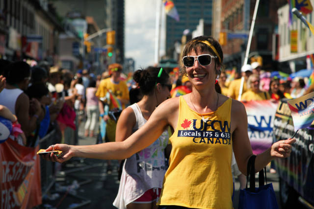 Marchers at Toronto's Pride Parade on Canada Day