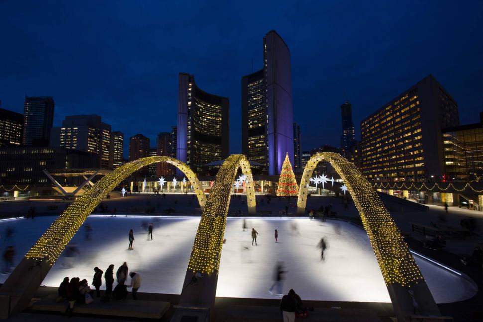 Nathan Phillips Square skating rink at night
