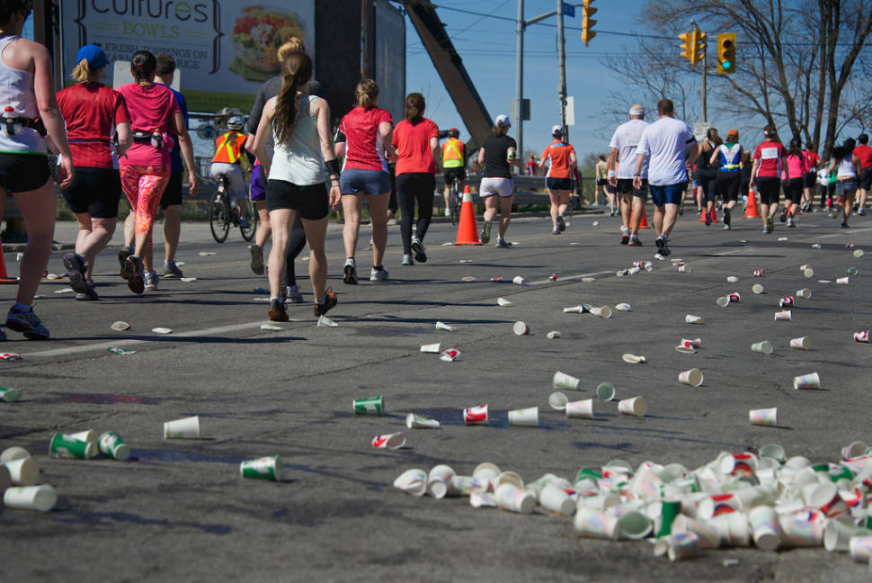 Tons of drink are consumed to prevent runners from dehydration