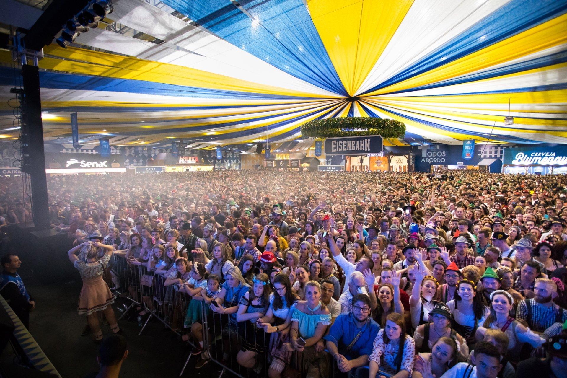 Best time to see Oktoberfest Blumenau in Brazil 2020