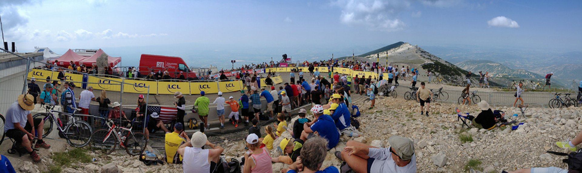 View on top of Mont Ventoux, 50 metres from the finish 2020
