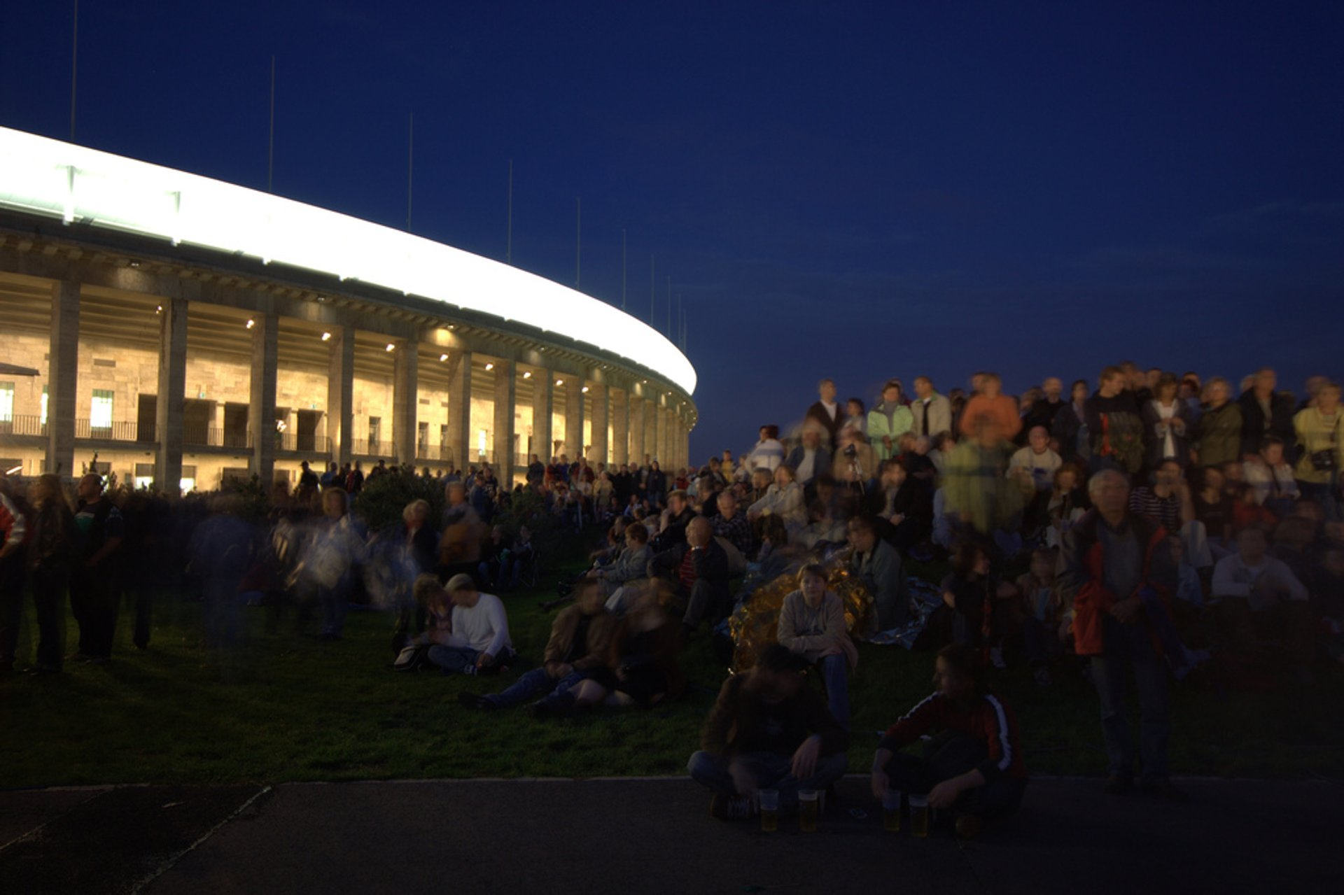 Crowd near the old Olympia Stadium in Berlin 2020