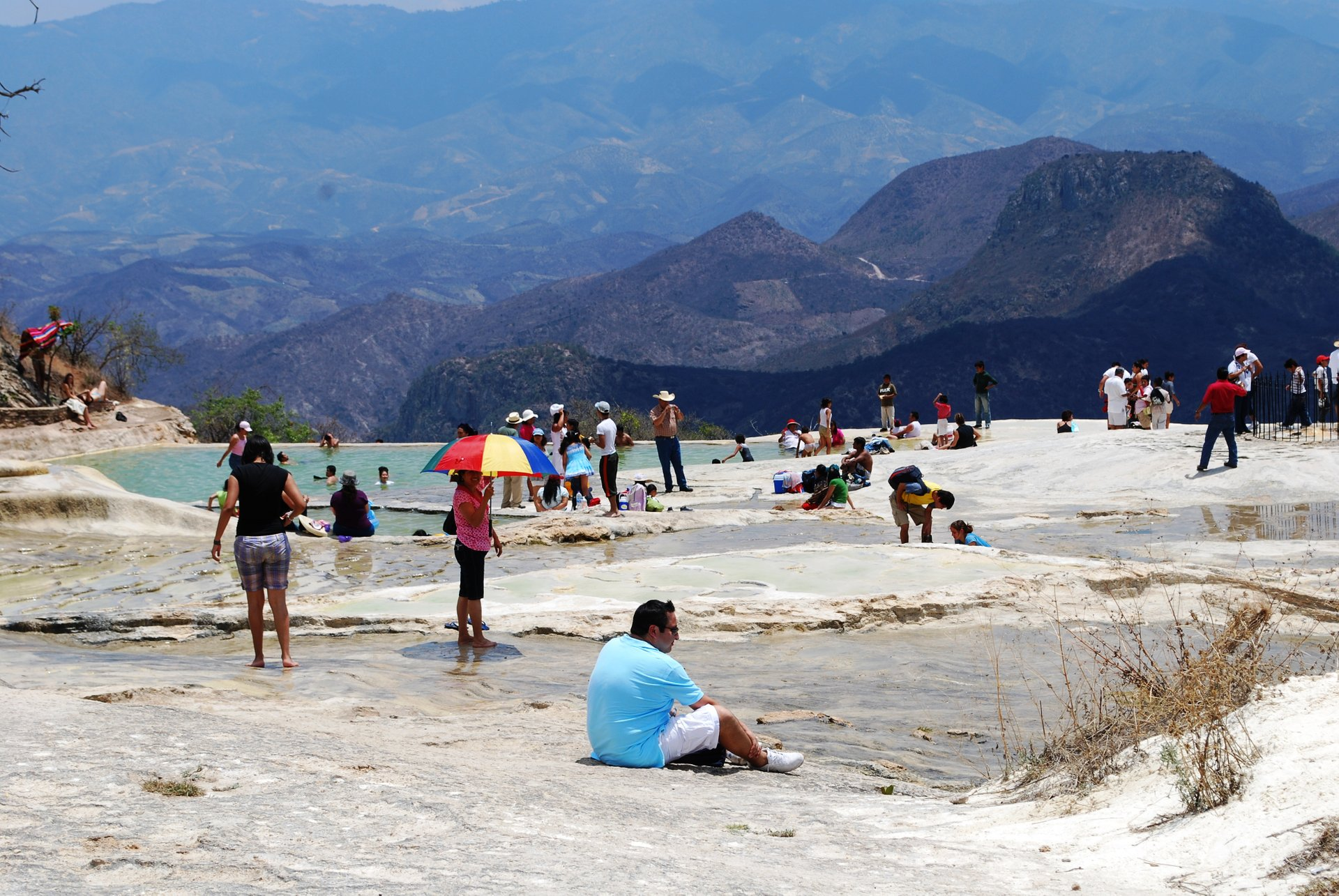 Lower natural and artificial pools at Hierve el Agua, Oaxaca, Mexico 2020