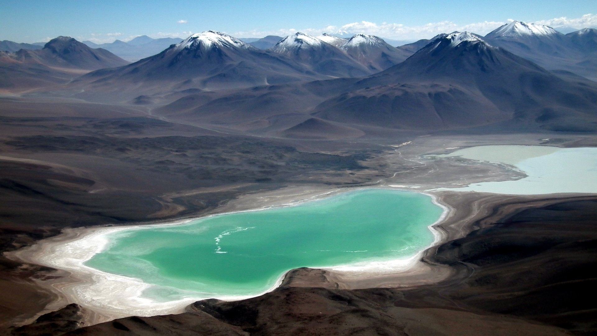 Laguna Verde and Laguna Blanca as seen from the summit of the Licancabur Volcano 2019
