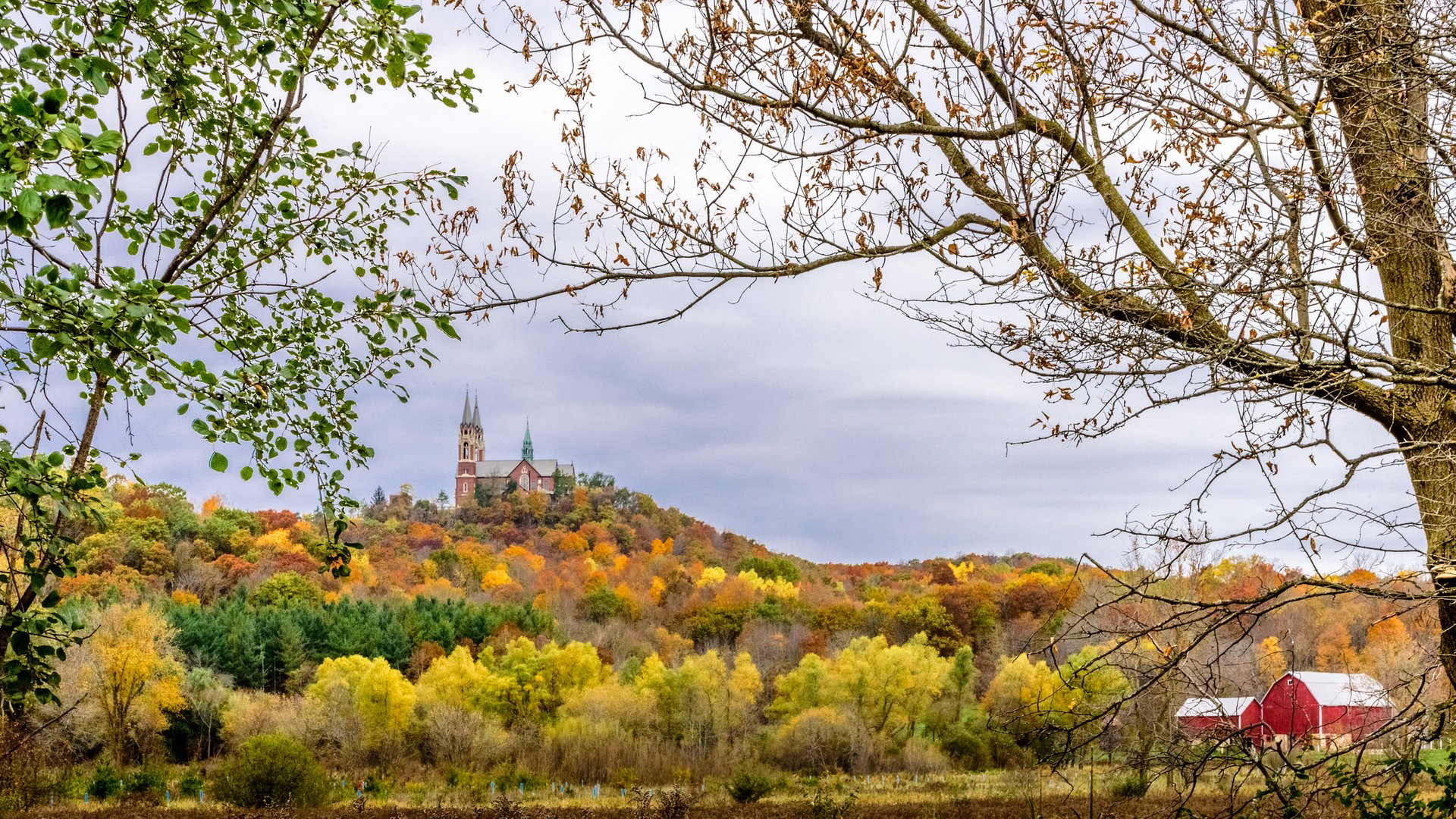 Fall colors surround the Basilica of Holy Hill in Erin, Wisconsin 2020
