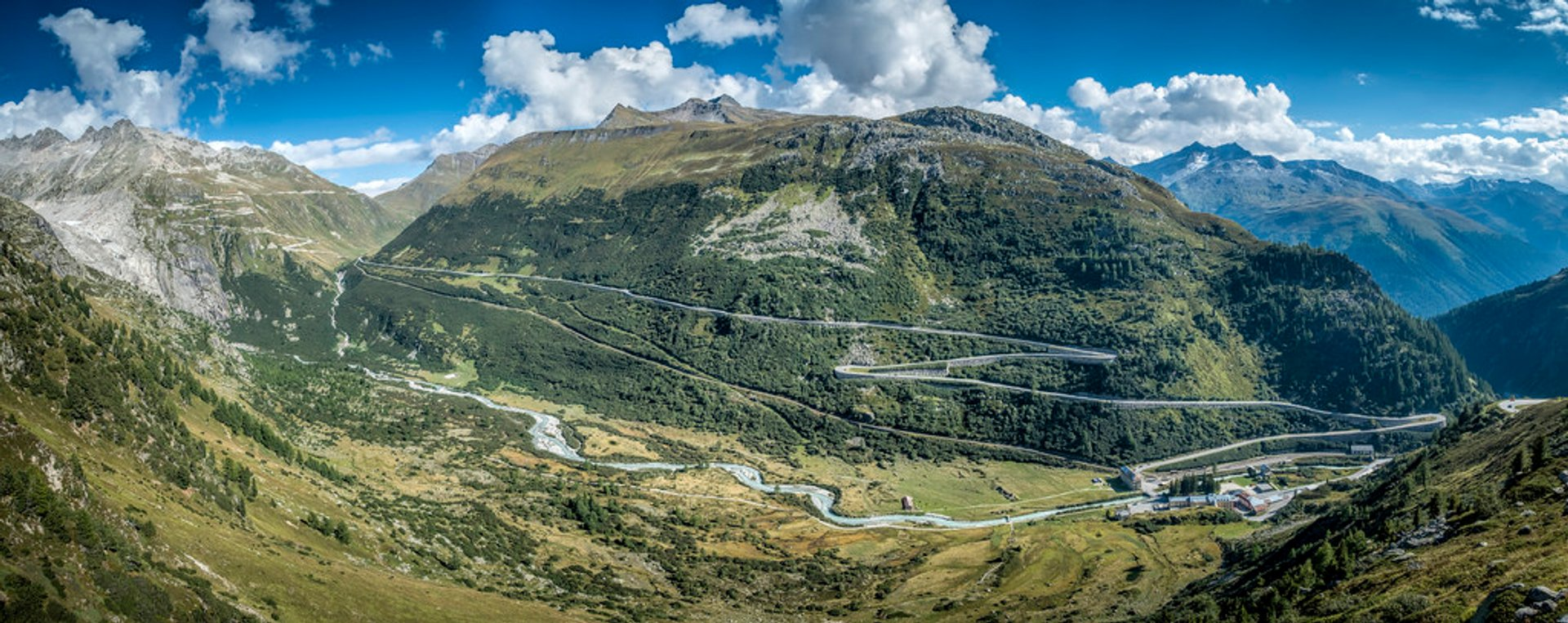 Driving over the Grimsel Pass, with the Furka Pass in the background 2019