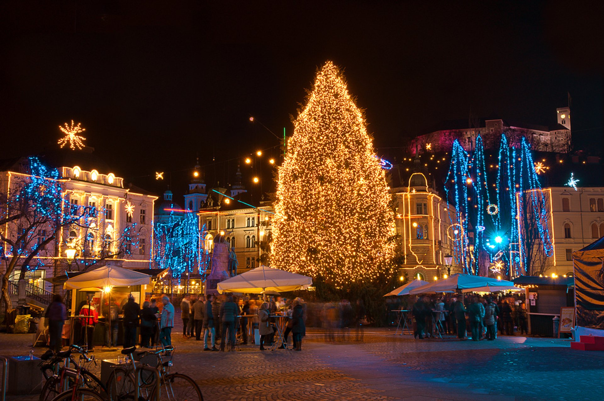 Ljubljana Old Town festive decorations 2020