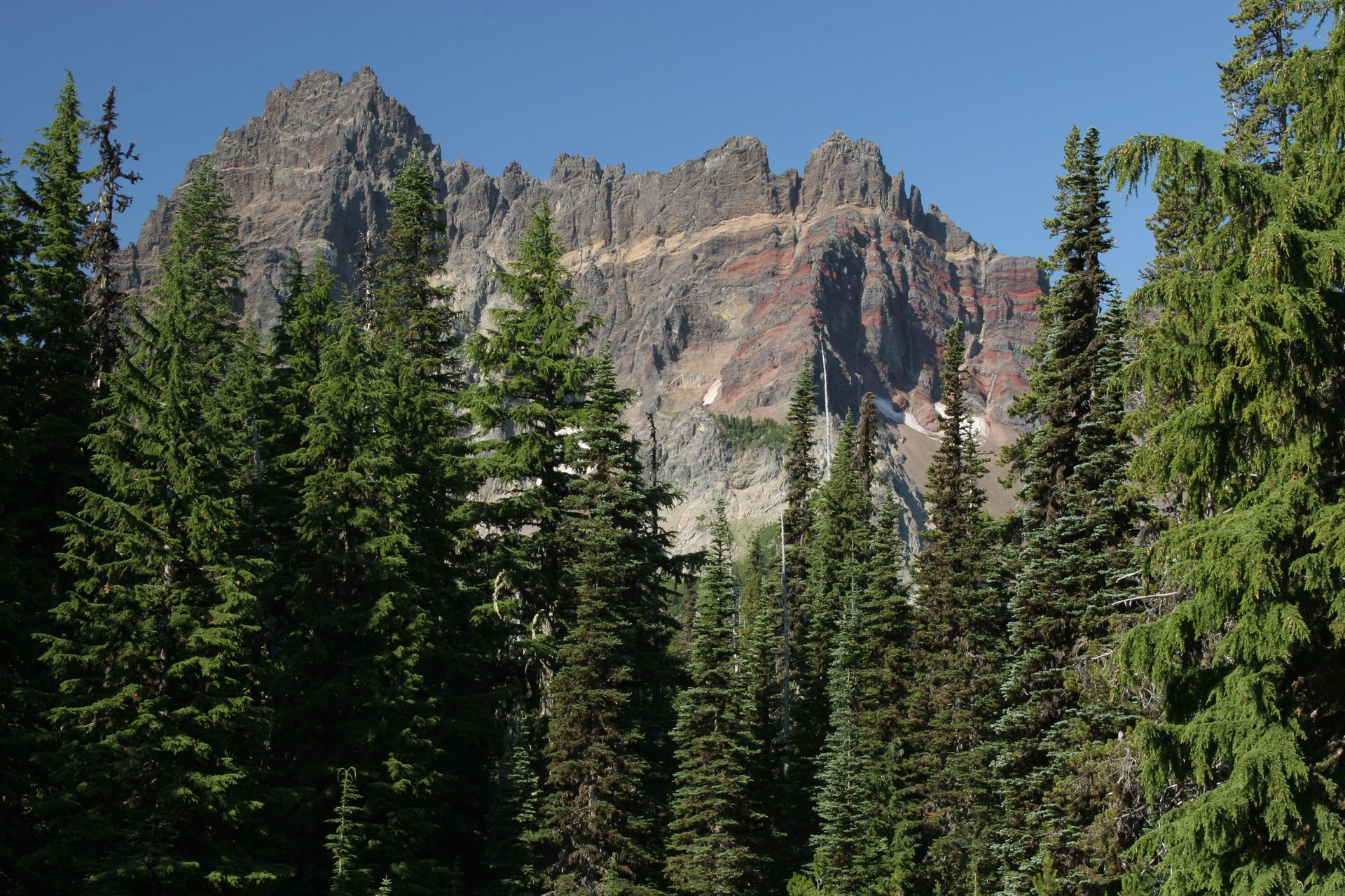 View of Three Fingered Jack from the Pacific Crest Trail in the Mt Jefferson Wilderness 2020