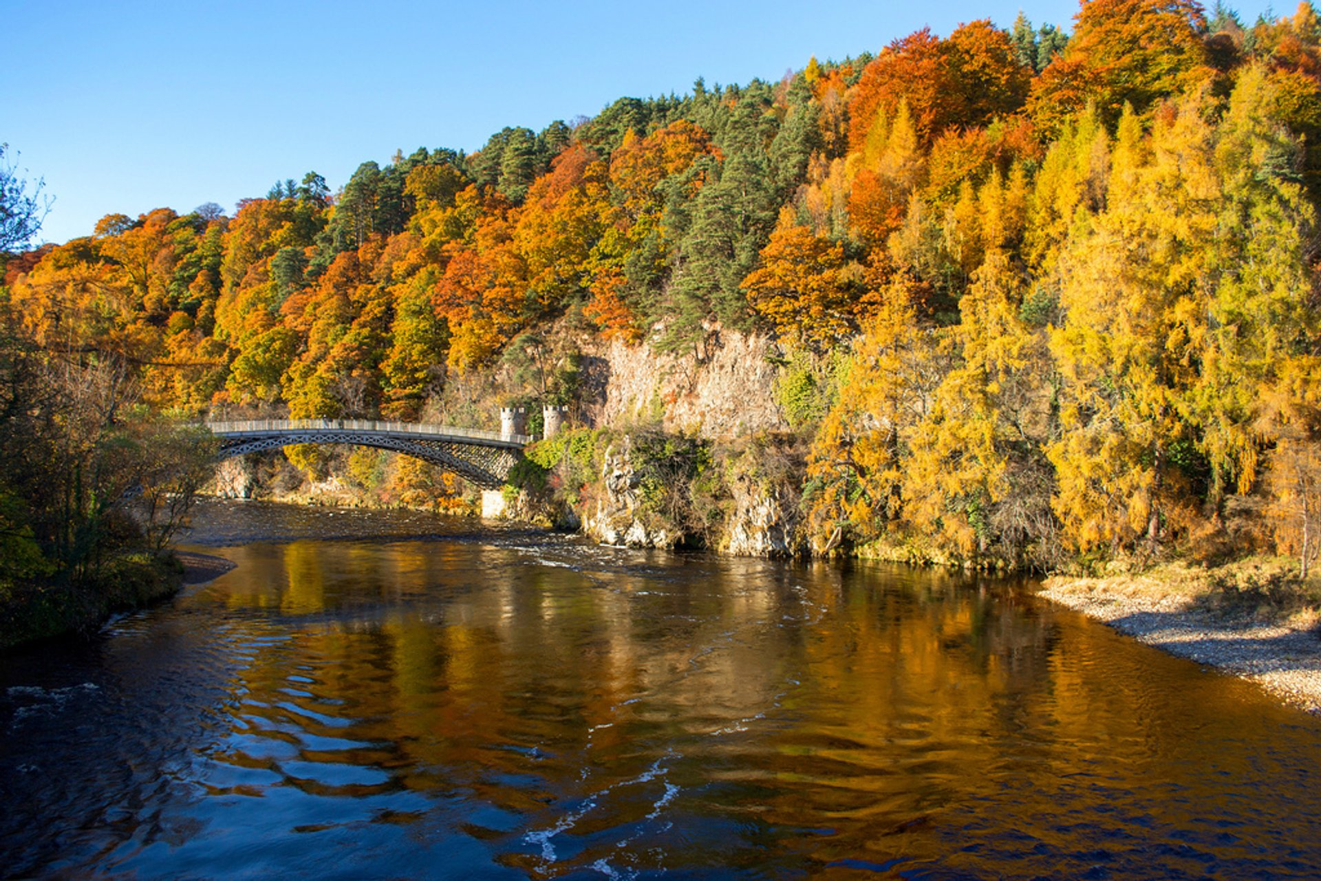 Craigellachie Bridge across the River Spey at Craigellachie, in the vicinity of to Aberlour village in Scotland 2020