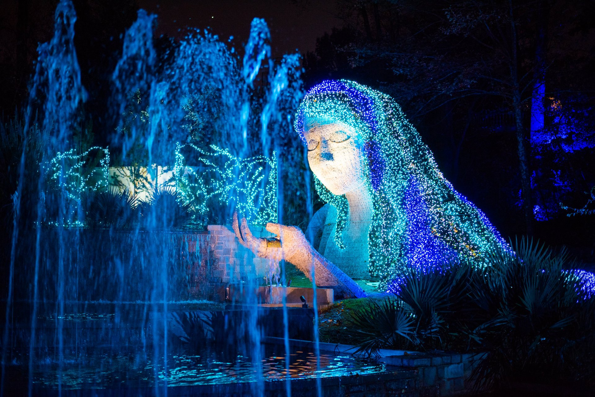 Fountain of Lights at Atlanta Botanical Garden Fountain (her hair is made up of 24,000 lights). 2020